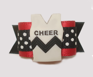 "#1533 - 5/8"" Dog Bow - Cheerleader Tank Top, Black, White & Red"