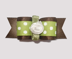 "#1541 - 5/8"" Dog Bow - Sweet Dots, Soft Brown & Green"