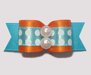 "#1549 - 5/8"" Dog Bow - Bold Dots, Blue w/White Dots & Orange"