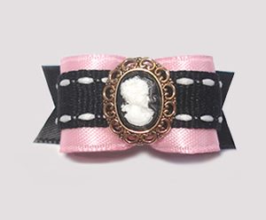 "#1558 - 5/8"" Dog Bow - Classic Cameo, Pink with Black"