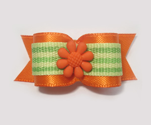 "#1561 - 5/8"" Dog Bow - Orange w/Lime Green Stripe, Orange Flower"