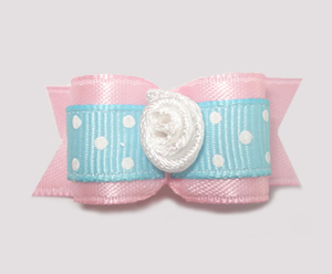 "#1563 - 5/8"" Dog Bow - Baby Pink & Blue, White Dots, Rosette"