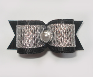 "#1576 - 5/8"" Dog Bow - Beautiful Classic Black & Silver"