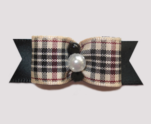 "#1592 - 5/8"" Dog Bow - Chic Designer Plaid, Classic, Pearl"