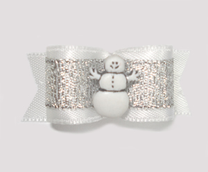 "#1594 - 5/8"" Dog Bow - Happy Snowman, Winter Silver & White"