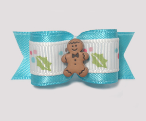 "#1595 - 5/8"" Dog Bow - Sweet Gingerbread & Holly, Blue & White"
