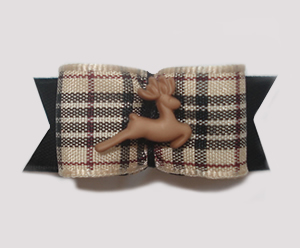 "#1596 - 5/8"" Dog Bow - Tiny Reindeer, Classic Designer Plaid"