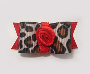 "#1605 - 5/8"" Dog Bow - Sassy Leopard Print, Red Rosette"