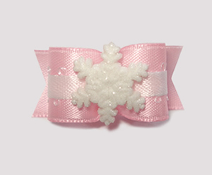 "#1612 - 5/8"" Dog Bow - Wonderful Winter Snowflake, Baby Pink"
