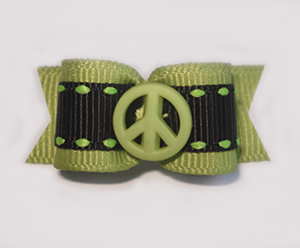 "#1613 - 5/8"" Dog Bow - Green Peace, Green with Black"