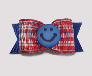 "#1615 - 5/8"" Dog Bow - Cute Red, White & Blue Plaid, Blue Smiley"