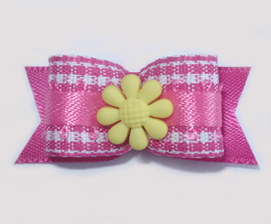 "#1625 - 5/8"" Dog Bow - Sweet Pink & White Gingham, Yellow Flower"