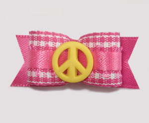 "#1627 - 5/8"" Dog Bow - Sweet Pink & White Gingham, Yellow Peace"