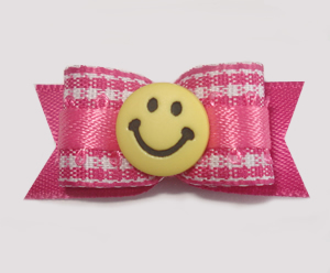 "#1628 - 5/8"" Dog Bow - Sweet Pink & White Gingham, Yellow Smiley"