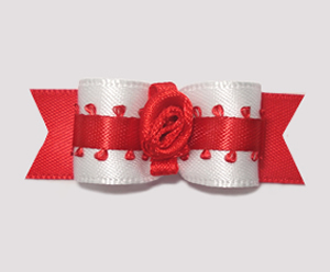 "#1632 - 5/8"" Dog Bow - Dressy White Satin, Fancy Red, Rosette"