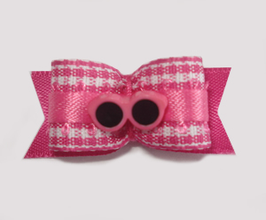 "#1634 - 5/8"" Dog Bow - Pink & White Gingham, Pink Sunglasses"