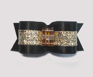 "#1648 - 5/8"" Dog Bow - Champagne Elegance, Black & Gold"