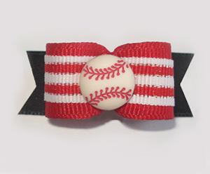 "#1649 - 5/8"" Dog Bow - Baseball, Red, White & Black"