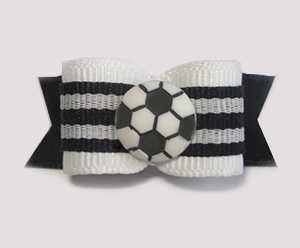 "#1650 - 5/8"" Dog Bow - Soccer, Black & White, Stripes"