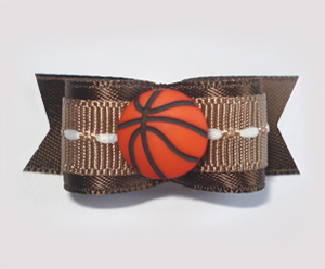 "#1651 - 5/8"" Dog Bow - Basketball, Brown & White"