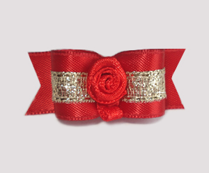 "#1655 - 5/8"" Dog Bow - Luxurious Gold and Red, Red Rosette"