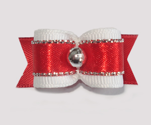 "#1659 - 5/8"" Dog Bow - Fancy Rich Red, Silver"