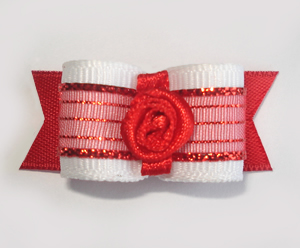 "#1668 - 5/8"" Dog Bow - Sheer Beauty, White with Red, Rosette"