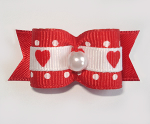 "#1670 - 5/8"" Dog Bow - Sweet Hearts & Dots, Red & White, Pearl"