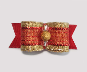 "#1672 - 5/8"" Dog Bow - Gorgeous Stardust Gold and Red"