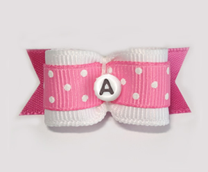 "#1676 - 5/8"" Dog Bow - Custom - Pink w/Dots - Choose Your Letter"