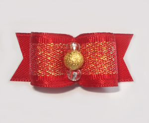 "#1677 - 5/8"" Dog Bow - Beautiful Shimmery Red with Gold Stardust"