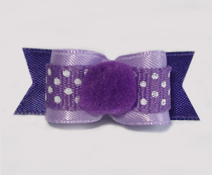 "#1690 - 5/8"" Dog Bow - Pom-Pom Purple with Tiny White Dots"