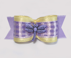 "#1692 - 5/8"" Dog Bow - Cute Dragonfly, Soft Yellow, Purple Check"