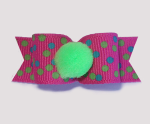 "#1693 - 5/8"" Dog Bow - Pom-Pom Green, Fun Multi-Color Dots"