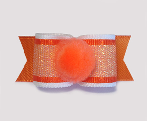 "#1700 - 5/8"" Dog Bow - Pom-Pom Orange, Sweet Shimmer"
