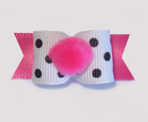 "#1704 - 5/8"" Dog Bow - Pom-Pom Hot Pink, Chic Black & White Dots"