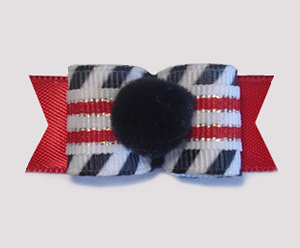 "#1706 - 5/8"" Dog Bow - Pom-Pom Black, Punky Fun Stripes"