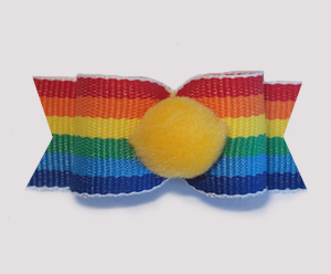 "#1707 - 5/8"" Dog Bow - Pom-Pom Sunshine Yellow, Rainbow Stripe"