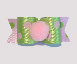 "#1708 - 5/8"" Dog Bow - Pom-Pom Pink, Green & Pink Dots"