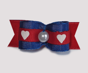"#1714 - 5/8"" Dog Bow - Cute Blue & Red with Hearts, Faux Pearl"
