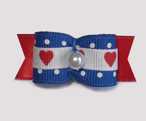 "#1715 - 5/8"" Dog Bow - Sweet Hearts & Dots, Blue, Red & White"