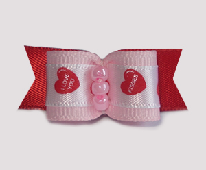 "#1716 - 5/8"" Dog Bow - Kisses & I Love You, Pink, White & Red"