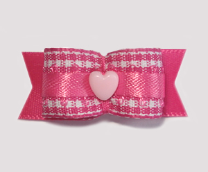 "#1718 - 5/8"" Dog Bow - Adorable Pink Gingham, Baby Pink Heart"