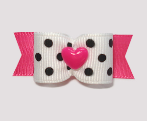 "#1726 - 5/8"" Dog Bow - Chic Black & White Dots, Pink Heart"