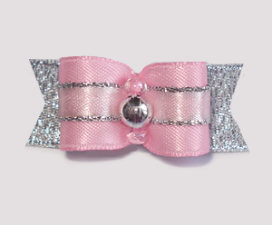 "#1727 - 5/8"" Dog Bow - Princess Divine, Pink with Silver"