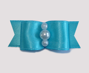 "#1743 - 5/8"" Dog Bow - Satin, Electric Blue, Faux Pearls"