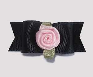 "#1751 - 5/8"" Dog Bow - Classic Black Satin, Pale Pink Rosette"