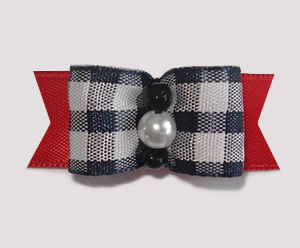 "#1753 - 5/8"" Dog Bow - Adorable Black & White Check with Red"