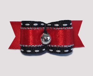 "#1754 - 5/8"" Dog Bow - Classic Red & Black with Silver"