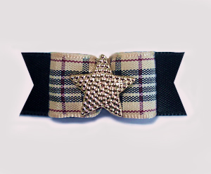 "#1759 - 5/8"" Dog Bow - Designer Plaid Star, Classic, Gold Star"